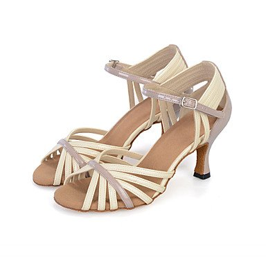 Silence @ Chaussures de danse pour femme ventre/latine/danse Sneakers/moderne/Chaussures de swing/Samba en similicuir évasé Talon jaune