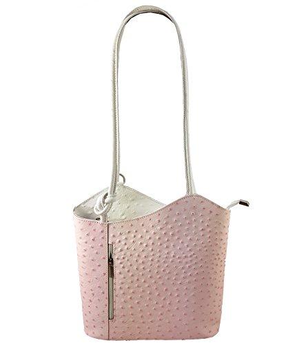 Freyday 2 in 1 Handtasche Rucksack Designer Luxus Henkeltasche aus Echtleder in versch. Designs (Strauß Rosa-Weiß)
