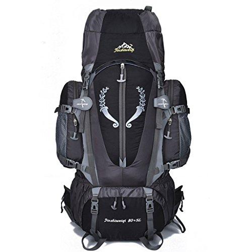 Zaino da trekking impermeabile da 80l con zaino da trekking di grande capacità, con zaino e zaino per lo sport all'aria aperta (colore : nero)