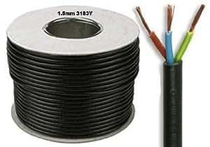 10 Meters of Black Flex 3183Y 1.5mm 15 Amp 3 Core Flexible Black Cable