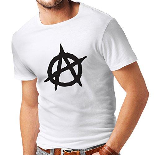 Männer T-Shirt Anarchistischer Symbolismus, politischer Entwurf des Anarchismus, Symbol für Anarchie (XXXXX-Large Weiß Schwarz)