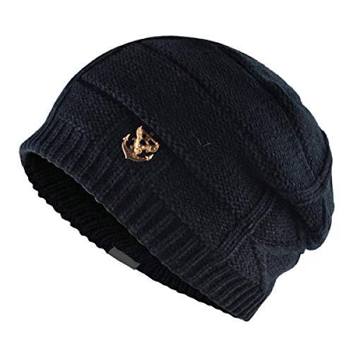 Doppelte Kennzeichnung Männer Wintermützen Beanie Frauen Textur Stricken Warme Motorhaube hinzufügen Samt Beanies Männer Strickmützen Hut TMD26 @ SCHWARZ -