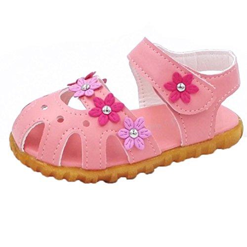 Janly Miúdos Roupa Causal Verão Flores Plana Meninas Fundo Macio Sandália Rosa Sapatos