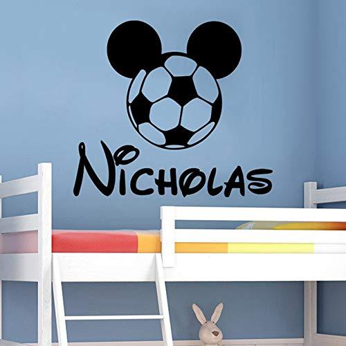 Fußball Ball Wall Decal Personalisierte Namen Vinyl Aufkleber Dekor Benutzerdefinierten Namen Kinderzimmer Kinderzimmer ()