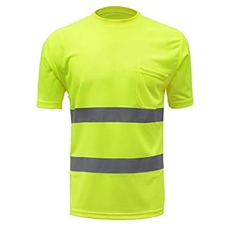 SFVest – Camiseta Reflectante T-Shirt de Alta Visibilidad Polo Uniforme Industrial de Seguridad para Trabajo Moto Bicicleta – Amarillo