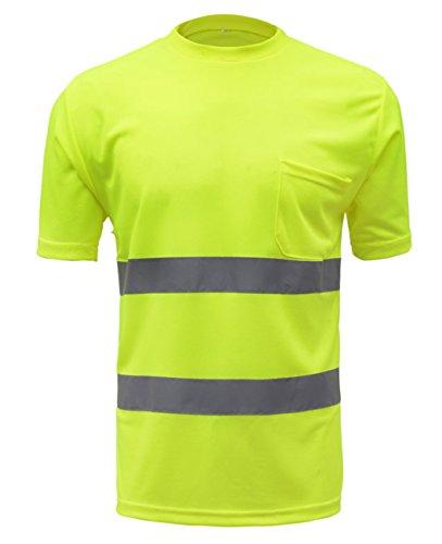 Preisvergleich Produktbild Herren Atmungsaktiv Warnshirt Warn T Shirt Hemd mit hoher Sichtbarkeit Sicherheitshirt Größe L Fluoreszenz Gelb