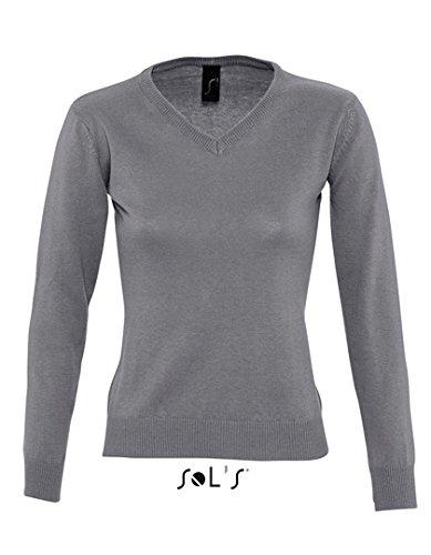 Sweater Pullover Femme col V Sweatshirt Grey Melange