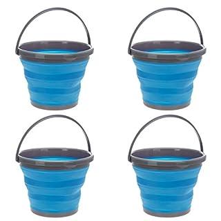 AiO-S - OK 4 Stück Putzeimer Campingeimer Set 10 L Blau Wassereimer Rund Faltbar ausstülpbar