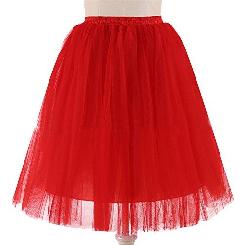 Honeystore Damen's 5 Layer Knielanger Rock Elastic Bund Tutu Prinzessin Tütü Tutu Petticoat Ballettrock One Size Rot (Diy Halloween Kostüme Mime)