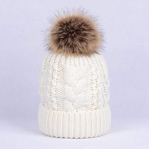 Huichao Chapeaux d'automne et d'hiver pour Hommes et Femmes, Chapeaux en Tricot Double,White