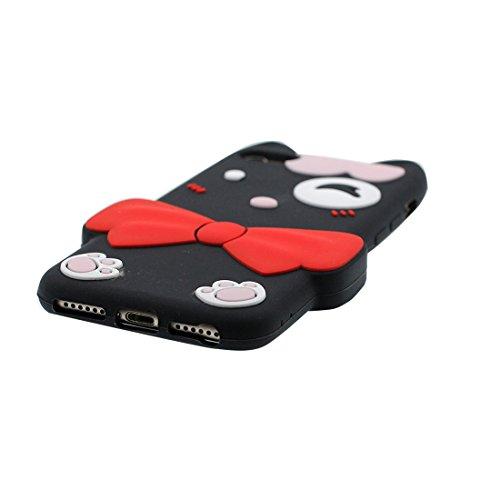 iPhone 7 Custodia, [Materiale flessibile TPU Durable ] Copertura iPhone 7 Case 4.7 [ 3D Cartoon Cover Rainbow giallo gatto ] Scivolamento anti shock Nero