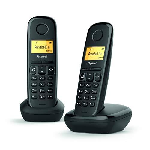 """Oferta de Gigaset A270 Duo - 2 Teléfonos inalámbricos manos libres, gran pantalla iluminada, agenda 80 Contactos, color negro, 5"""""""