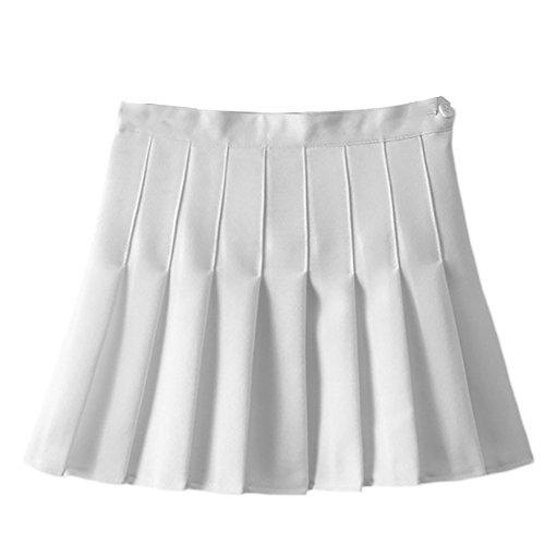 IWEMEK Summer Girls Teens High Waist Pleated Mini Skirts School Skirt Uniform Women Solid A-Line Skirts Flared Tennis Skater Casual Skirts Skorts With Inner Shorts White UK 10 (Tag M)