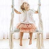Altalena per bambini in legno, seggiolino per bambini per esterno e interno, sedia per altalena per bambini con cuscino in cotone morbido corda per giardino domestico blu 54x19,5x4 cm (21x8x2 pollici)