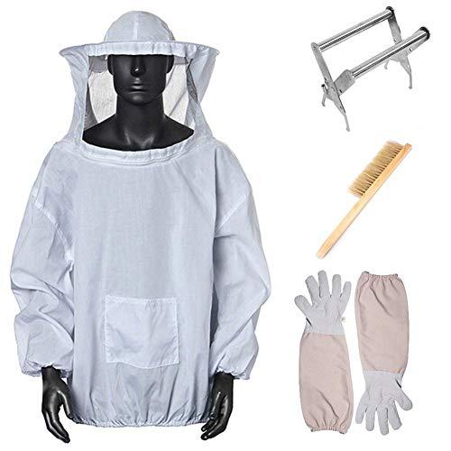 GLORY 4 en 1 Ropa Protectora Chaqueta de Apicultura con Velo - Juego de 4 (Tops + Clip de Marco de Nido + Guantes + Barrido de Abejas) - Bee Beekeeper Jacket Gloves Hive Brush Box Clip