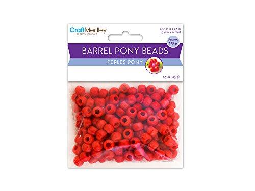 American Classics Corp 491900 Barrel Pony Beads 9mmx6mm 175-Pkg-Red -