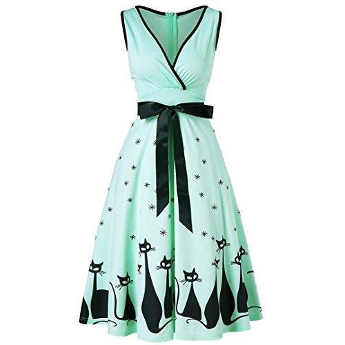 Kleid Damen Kolylong Frauen Elegant V-Ausschnitt Katze Drucken Ärmellose Kleid Knielang Retro Swing...