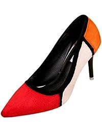 DYF Chaussures Bottes long tube couleur solide talon plat taille grande boucle de métal, rouge, 51