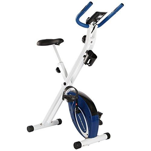 Ultrasport F-Bike Advanced Bcicleta Estática y Fitness Sillín de Gel, Portabidones y Bidón, Pantalla LCD, Sensores de Pulso, Compacta y Plegable, Carga Máxima 110 kg, Unisex Adulto, Azul, OS