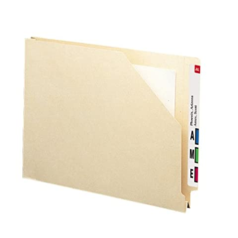 Hvwt End Tab File Pockets with 1 1/2 Expansion, Letter, 14 Point Manila, 50/Box