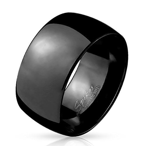 Paula & Fritz BREITER Dome 10mm breit Damen-ring Verlobungs-ring Freundschaftsring Herrenring Partnerring Edelstahl Chirurgenstahl 316L schwarz 61 (19,5)
