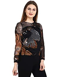 A Thousand Things Women's Slim Fit Black Floral Chiffon Top