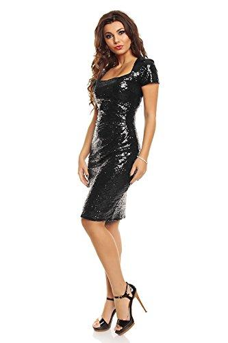 Elegante vestito da sera Pailletten poposh cocktail vestito con paillette ricamati Nero