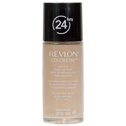 Revlon Colorstay 24H, Base de maquillaje para rostro, para cutis mixto/graso, SPF15, con dosificador, color Beige (220 Natural Beige), 30ml
