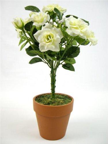 Plante Artificielle topiaire Mini roses en soie Crème 26 cm
