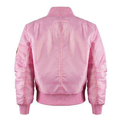 Kinder Mädchen Jungen Kinder Bomber MA1 Stil Jacke Piloten Biker Taschen Mantel Jahre – Rosa, 146-152 - 3