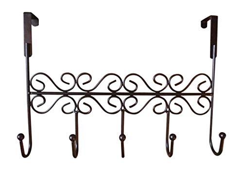 heliltd 1 Stück Über die Tür Kleiderbügel Rack mit 5 Haken Braun Dekorative Metall Kleiderbügel Halter für Kleidung Hüte, Handtaschen Schmuck (Dekorative Kleiderbügel Tür)