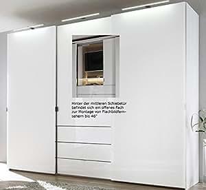 staud media kleiderschrank mit tv fach wei breite 336 cm b robedarf schreibwaren. Black Bedroom Furniture Sets. Home Design Ideas
