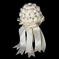 Cristallo Satin Rosa nuptiale di damigella d' onore di Matrimonio Bouquet Di Fiori Decorazione, Avorio, Beige