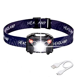 Akale Rechargeable LED Head Torch, Super Bright LED Headlamps, White & Red LED, 5 Modes, Best Head Lights for Camping, Hiking, Jogging, Running Fishing, Kids