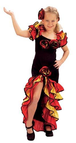 Kinder Mädchen Fasching Kostüm Flamenco Tänzerin spanische Salsa Outfit 11-13 Jahre