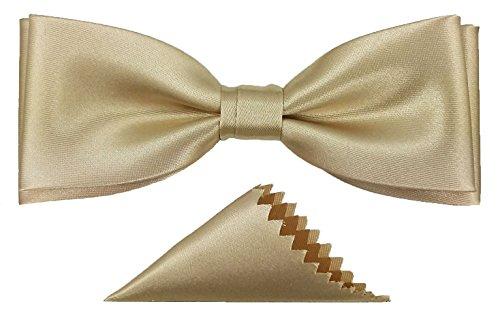 Edle elegante Fliege mit Einstecktuch Fliegen Herren unisex Schleife verstellbar mit Haken gebunden Hochzeit Konfirmation Taufe Kommunion Geburtstag Party (Beige)