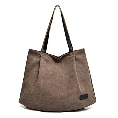 BZLine® Frauen Canvas Taschen Schultertasche weibliche Handtaschen Taschen Kaffee