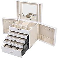 SONGMICS Caja joyero Organizador para Anillos Collares 30 x 25 x 22 cm Blanco JBC217W