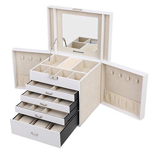 Songmics portagioie espositore organizzatore custodia scatola per gioielli con specchio bianco jbc217w