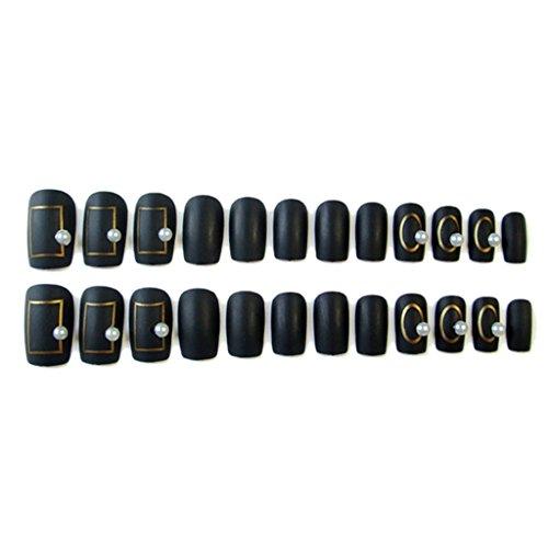 Biniwa MS-8 Lot de 24 faux ongles en acrylique pour manucure