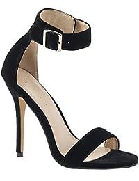 PleaserUSA Damen Ankle Riemchen Sandalen Amuse-10 Samt schwarz