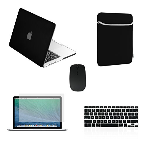 """Top Case New Macbook Pro 13"""" 13 inch with Retina Display Model: A1425 and A1502 (NEWEST VERSION 2013) 5 in 1 Bundle - Black Rubberized Hard Case Cover + Matching Color Soft Sleeve Bag + Wireless Mouse + Silicone Keyboard Cove"""