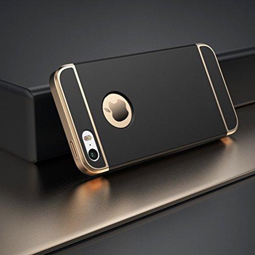 MOONCASE iPhone SE Coque - Placage Détachable Design PC Trois-Pièces Slider Antichoc Etui Rigide Case pour iPhone SE / 5S/ 5 Argent Noir