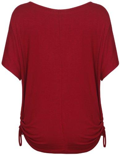 Damen Herz-aufdruck Paillette Damen Stretch Shorts Flügelärmel Runder Halsausschnitt Krawatte T-Shirt Top Übergröße Weinrot