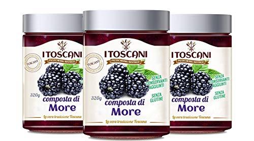 Confettura extra di More 3 confezioni da 320 g - i Toscani. Senza GLUTINE, senza CONSERVANTI aggiunti, italia