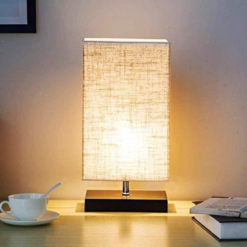 W-LITE Tischlampe aus Holz, Nachttischlampe Vintage, Stehlampe Modern auf Tisch, E27-Fassung & EU-Stecker Warmweiß für Wohnzimmer, Kinderzimmer, Schlafzimmer, Esszimmer Beige