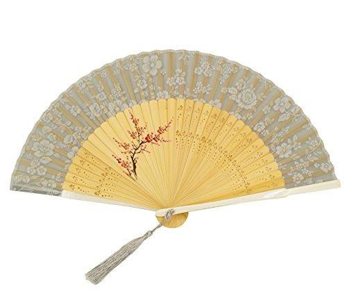 Feoya Abanico de Bambú Plegable Japonés con Cubierta para Boda Fiesta Ceremonia...