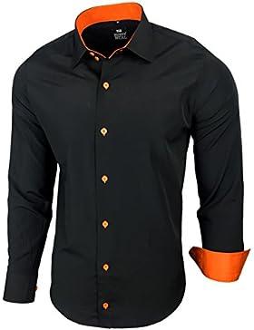Camicia da uomo per business, matrimonio, tempo libero, taglio aderente–S M L XL XXL, R-44 Nero - arancione...