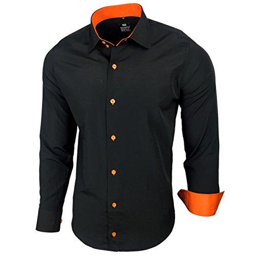 Herren Kontrast Basic Hemden Business Freizeit Langarm Anzug Hochzeit Hemd R-44, Farbe:Schwarz - Orange;Größen:L