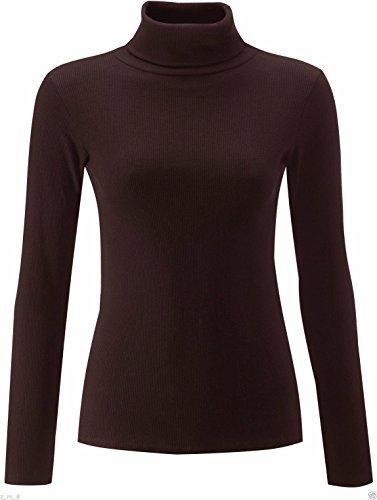 RE Tech UK Damen einfarbig gerippt Baumwolle Polo Schildkröte Rollkragen Tunika Top Pulli langärmelig Dunkle Schokolade braun